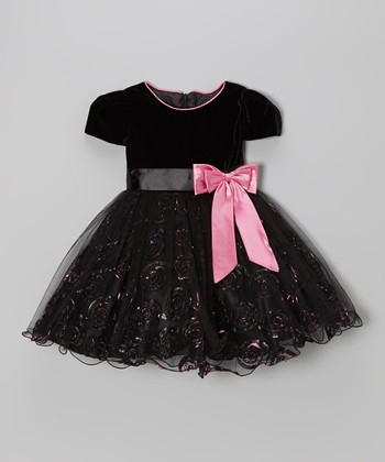 Black & Pink Sheer Bow Dress - Infant, Toddler & Girls
