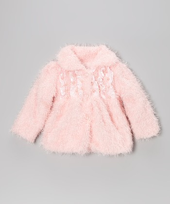 Pink Pearl Fuzzy Coat - Toddler & Girls