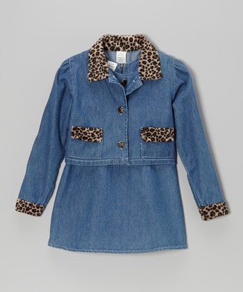 Denim Cheetah Swing Dress & Jacket - Toddler & Girls