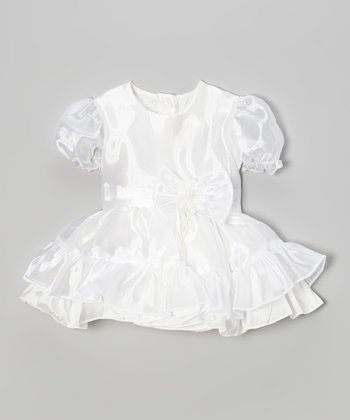 White Bow Pouf-Sleeve Dress - Toddler & Girls