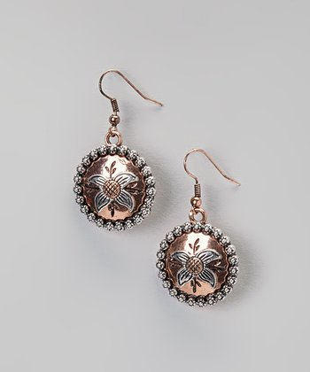 Copper Round Drop Earrings