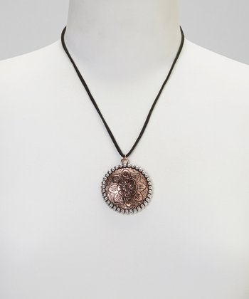 Copper Round Floral Pendant Necklace