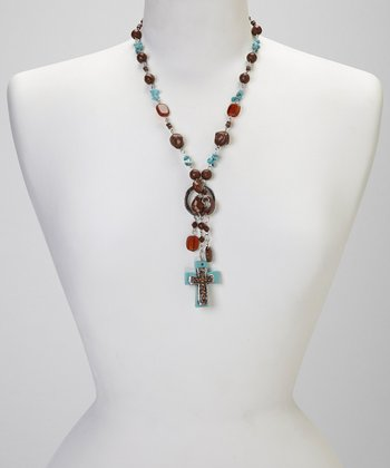 Turquoise & Brown Cross Pendant Necklace