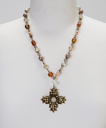 Brown Crystal Cross Pendant Necklace