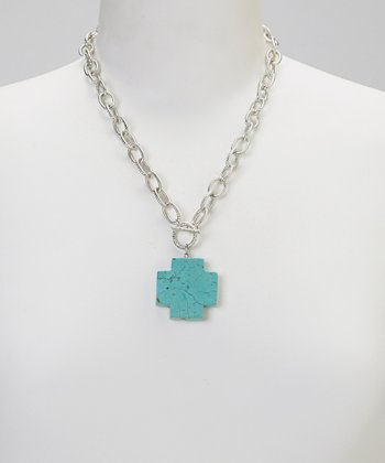 Turquoise Square Cross Pendant Necklace
