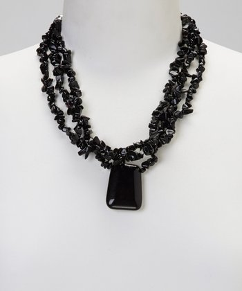 Black Chunky Pendant Necklace