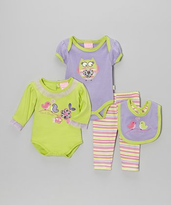 Lavender Bird & Owl Bodysuit Four-Piece Set - Infant