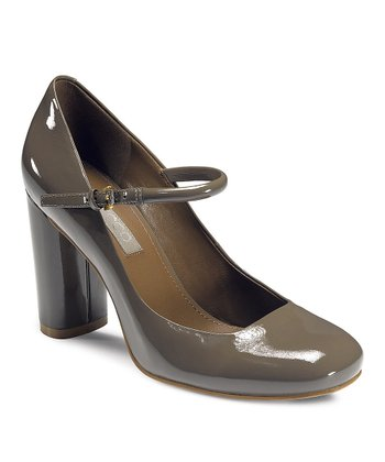 Warm Gray Patent Nevers Mary Jane Pump