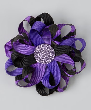 Purple & Black Glitter Ribbon Clip