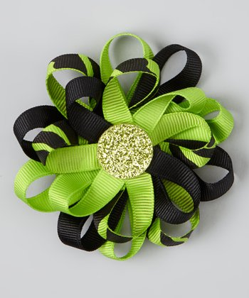 Lime & Green Glitter Ribbon Clip