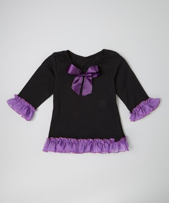Black & Purple Ruffle Top & Bow Clip - Infant, Toddler & Girls