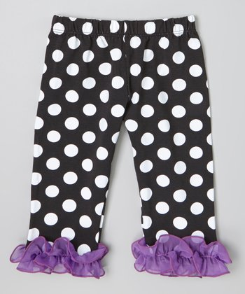 Black & Purple Polka Dot Ruffle Capri Pants - Infant, Toddler & Girls