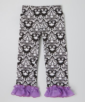 Black & Purple Damask Ruffle Pants - Infant, Toddler & Girls