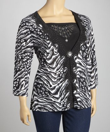 Black & White Rhinestone Layered Top - Plus