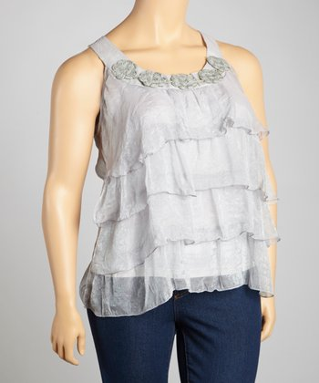 Silver Lace Crocheted Tier Tank - Plus