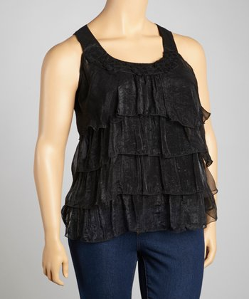 Black Lace Crocheted Tier Tank - Plus