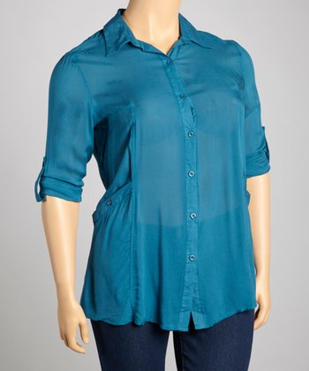 Teal Pocket Button-Up - Plus