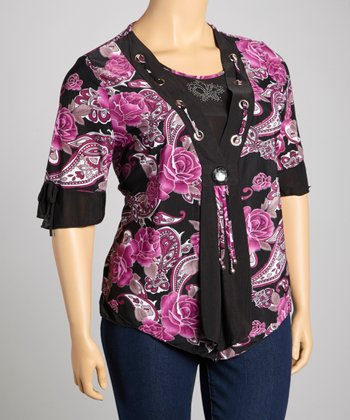 Purple & Black Rose Layered Top - Plus