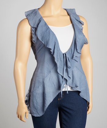 Denim Ruffle Vest - Plus