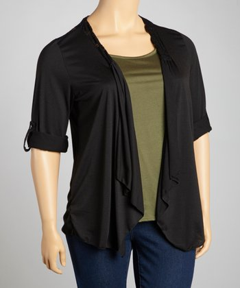 Green & Black Lace-Shoulder Layered Top - Plus