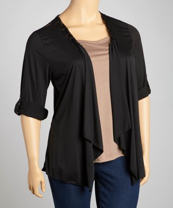 Taupe & Black Lace-Shoulder Layered Top - Plus