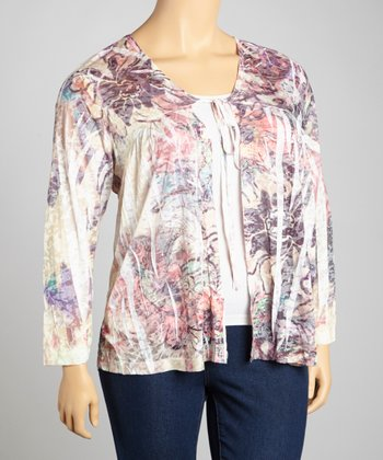 Purple & Yellow Sublimation Open Cardigan - Plus
