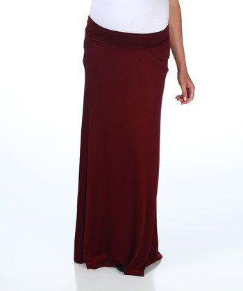 Burgundy Maternity Maxi Skirt - Women