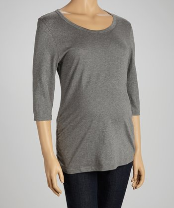 Gray Maternity Crewneck Top - Women