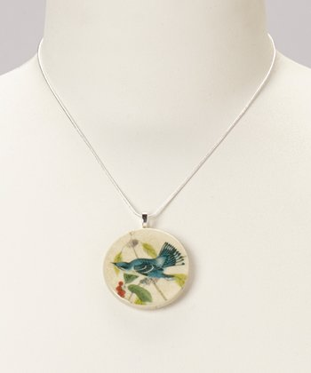 Sterling Silver & Wood Blue Jay Pendant Necklace