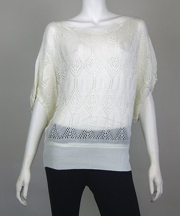 White Diamond Crocheted Dolman Top