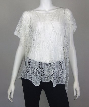 White Fan Crocheted Dolman Top