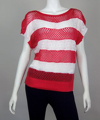 Red & White Stripe Crocheted Top