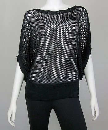 Black Crocheted Dolman Top
