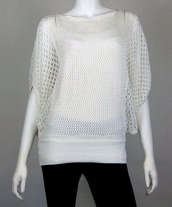 White Crocheted Dolman Top