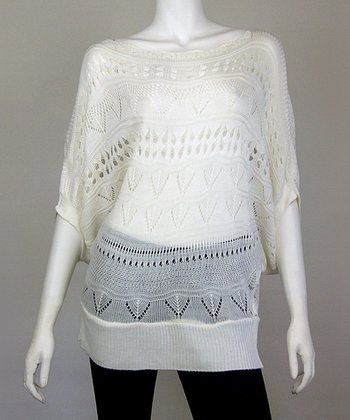 White Chevron Crocheted Dolman Top
