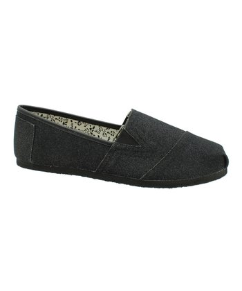 Black Glitter Seaside Slip-On Shoe