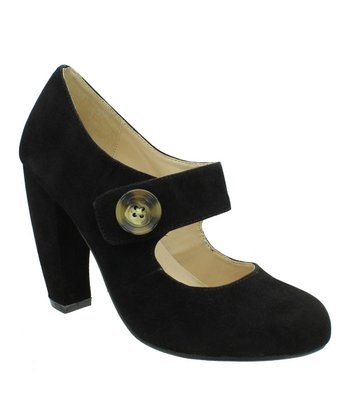 Black Faux Suede Mary Jane Pump