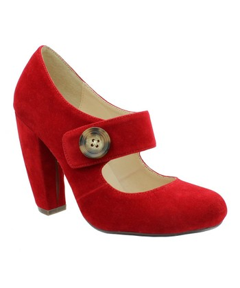 Red Faux Suede Mary Jane Pump