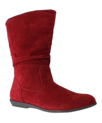 Red Faux Suede Boot