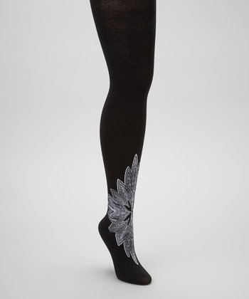 Black & White Floral Opaque Tights