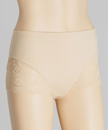Nude Floral Lace Shaper High-Waist Briefs