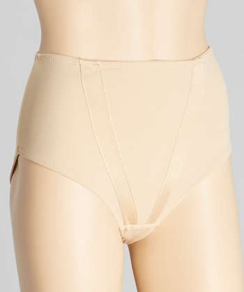 Nude Satin Tracks Shaper High-Waisted Briefs