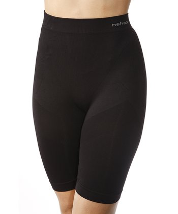 Black Seamless 'Nehao' High-Waisted Long Shaper Shorts - Women