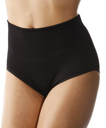 Black Seamless High-Waisted Shaper Bikini Briefs - Women