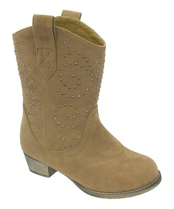 Beige Studded Lobo Boot