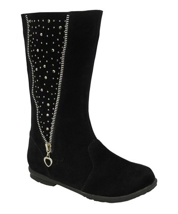 Black Studded Zipper Lobo Boot