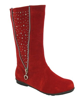 Red Studded Zipper Lobo Boot