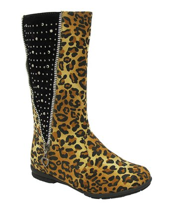 Leopard Studded Zipper Lobo Boot