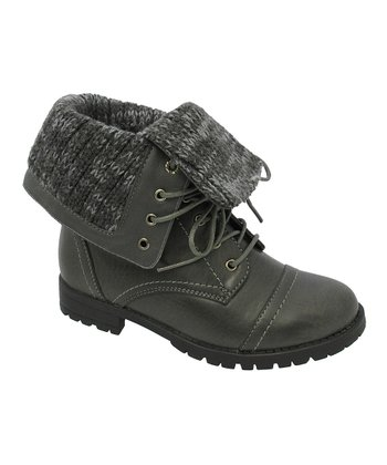 Gray Cuffed Mary Boot