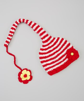 Red & White Stripe Flower Beanie